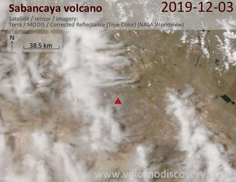 Satellite image of Sabancaya volcano on  3 Dec 2019