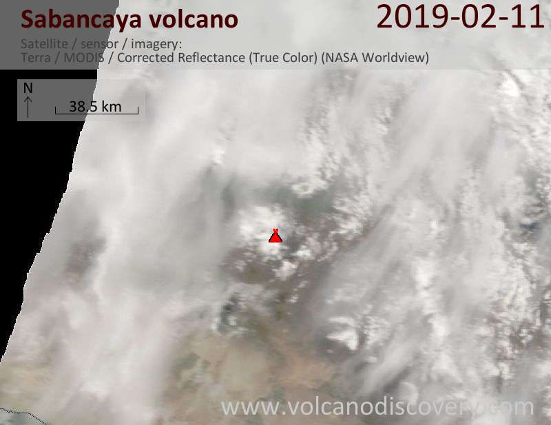 Satellite image of Sabancaya volcano on 11 Feb 2019