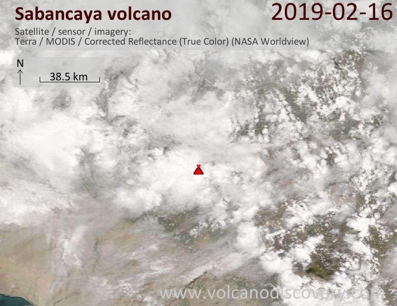 Satellitenbild des Sabancaya Vulkans am 16 Feb 2019