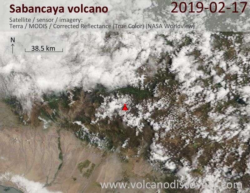Satellitenbild des Sabancaya Vulkans am 17 Feb 2019