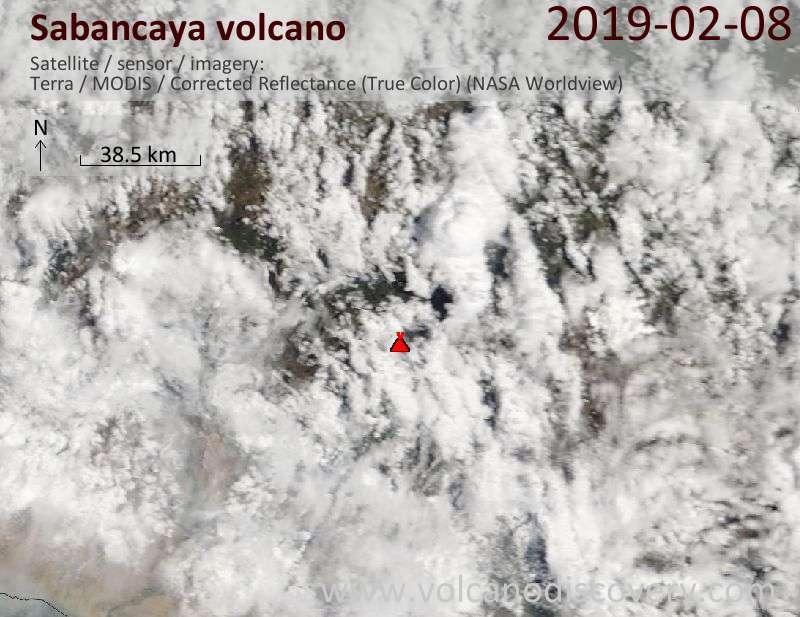 Satellite image of Sabancaya volcano on  8 Feb 2019