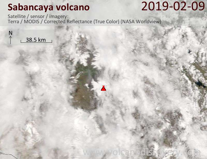 Satellite image of Sabancaya volcano on  9 Feb 2019