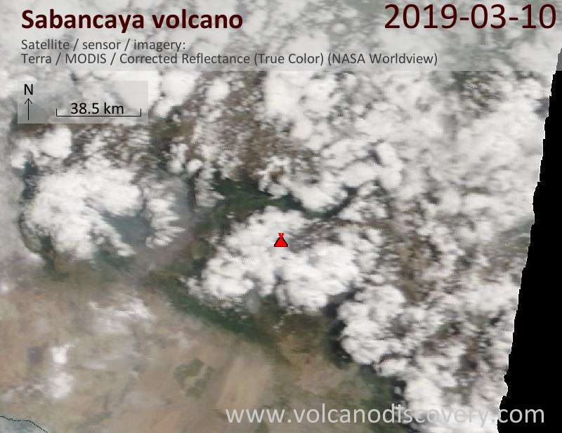 Satellite image of Sabancaya volcano on 10 Mar 2019