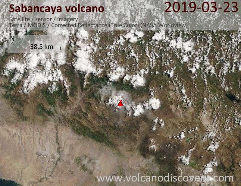 Satellite image of Sabancaya volcano on 23 Mar 2019