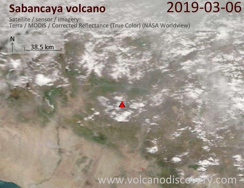 Satellite image of Sabancaya volcano on  6 Mar 2019