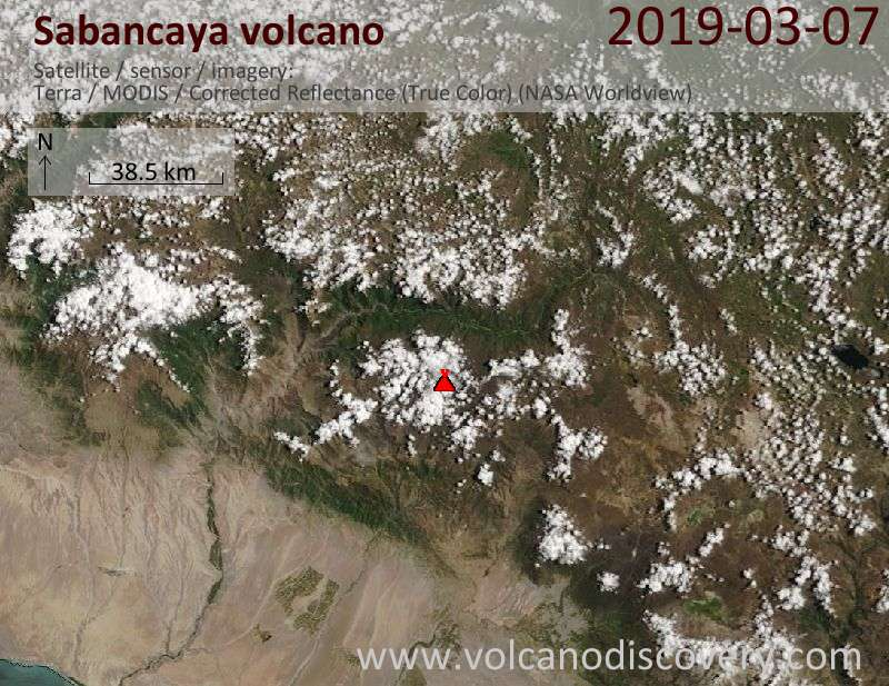 Satellitenbild des Sabancaya Vulkans am  7 Mar 2019