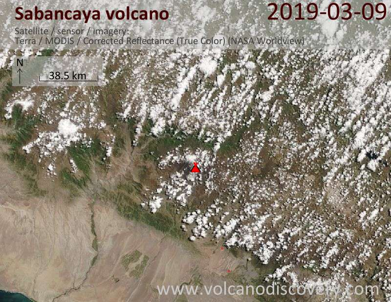 Satellitenbild des Sabancaya Vulkans am  9 Mar 2019