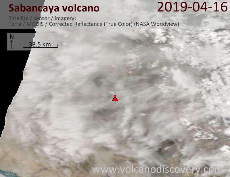 Satellite image of Sabancaya volcano on 16 Apr 2019