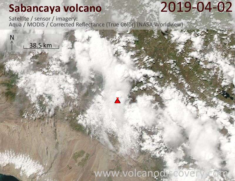 Satellite image of Sabancaya volcano on  2 Apr 2019