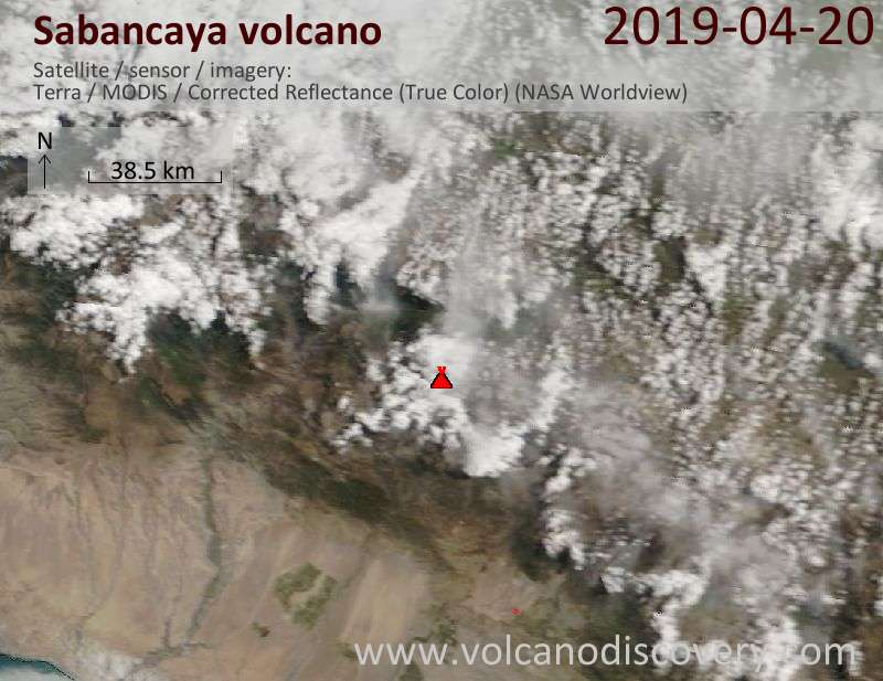 Satellitenbild des Sabancaya Vulkans am 20 Apr 2019
