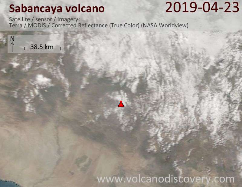 Satellitenbild des Sabancaya Vulkans am 23 Apr 2019