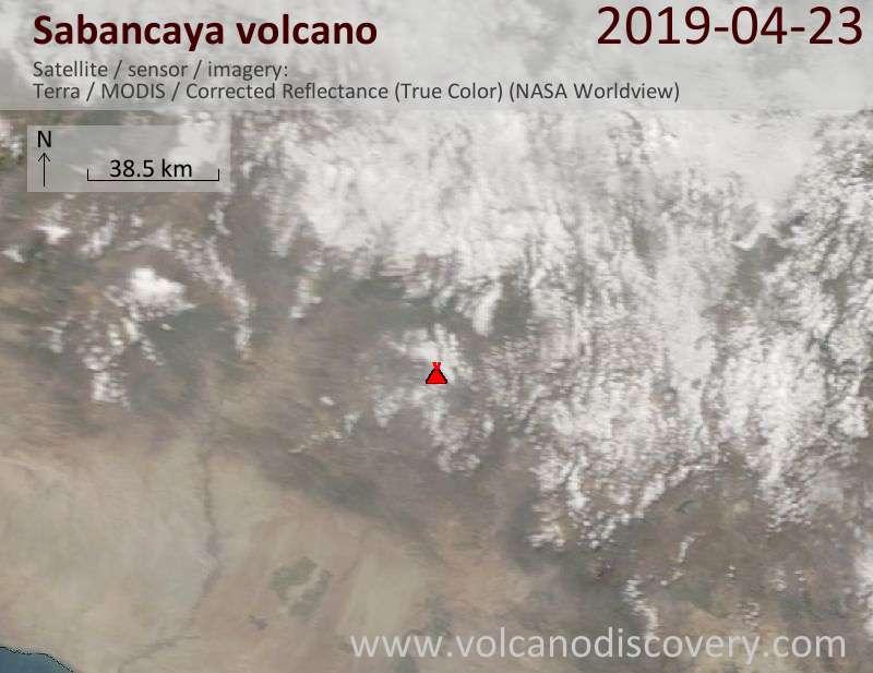 Спутниковое изображение вулкана Sabancaya 23 Apr 2019