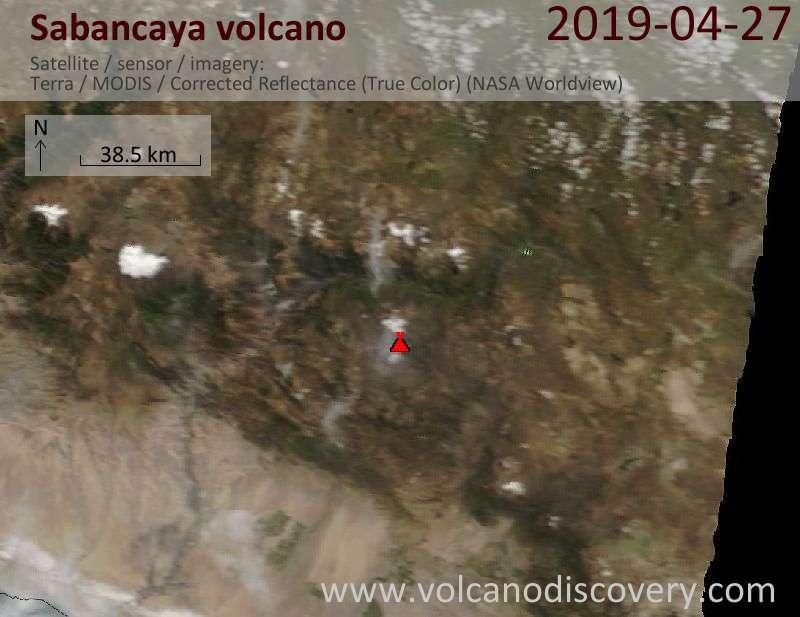 Satellite image of Sabancaya volcano on 27 Apr 2019