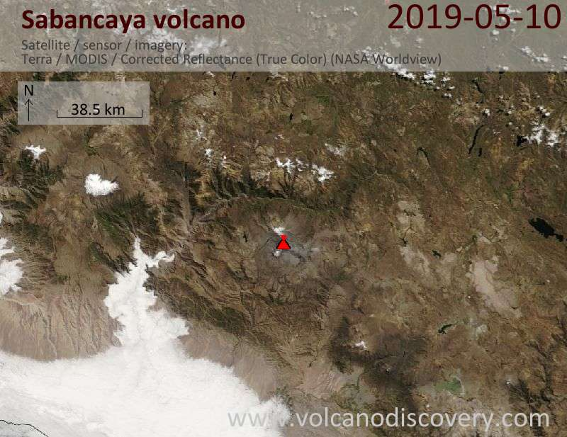 Satellite image of Sabancaya volcano on 10 May 2019