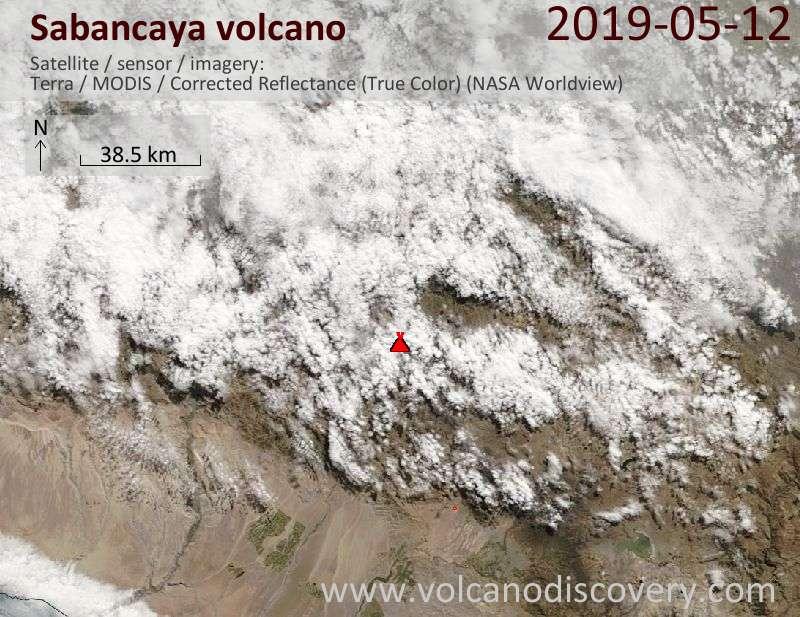Satellitenbild des Sabancaya Vulkans am 12 May 2019