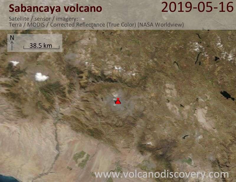 Satellite image of Sabancaya volcano on 16 May 2019