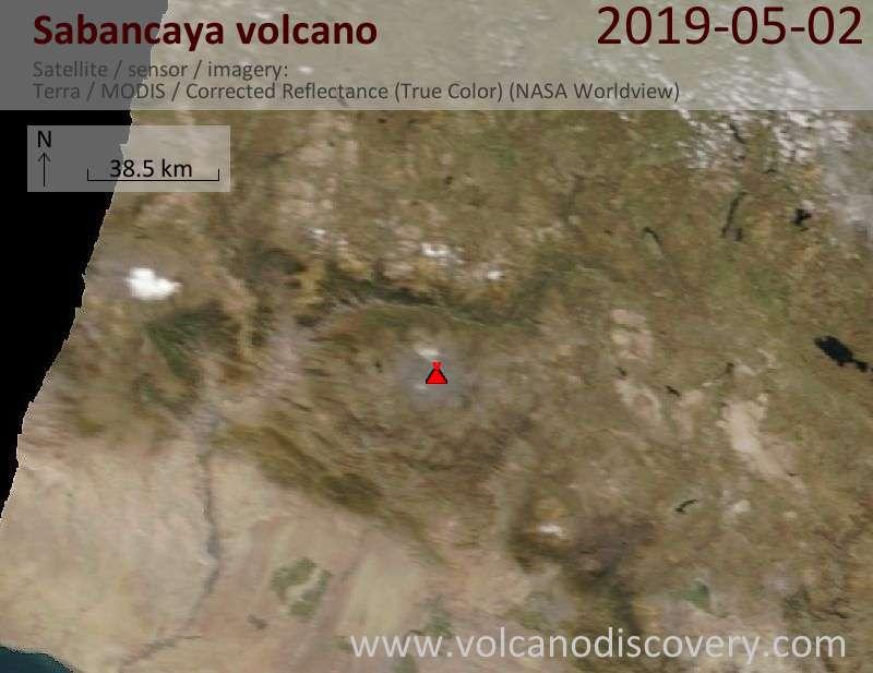 Satellite image of Sabancaya volcano on  2 May 2019