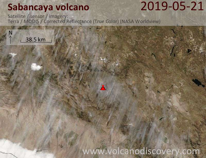 Satellitenbild des Sabancaya Vulkans am 21 May 2019