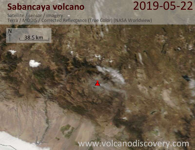 Satellite image of Sabancaya volcano on 22 May 2019