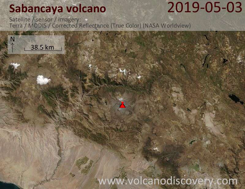 Satellite image of Sabancaya volcano on  3 May 2019