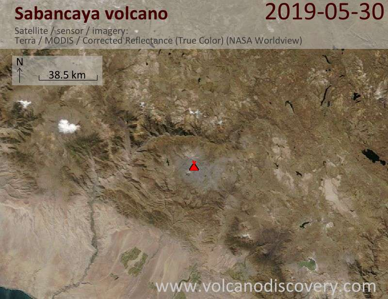 Satellite image of Sabancaya volcano on 30 May 2019