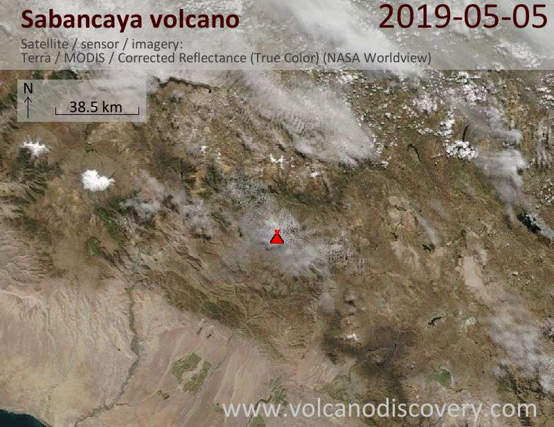 Satellite image of Sabancaya volcano on  5 May 2019