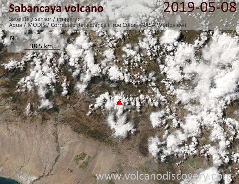 Satellite image of Sabancaya volcano on  9 May 2019