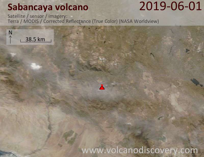 Satellitenbild des Sabancaya Vulkans am  1 Jun 2019
