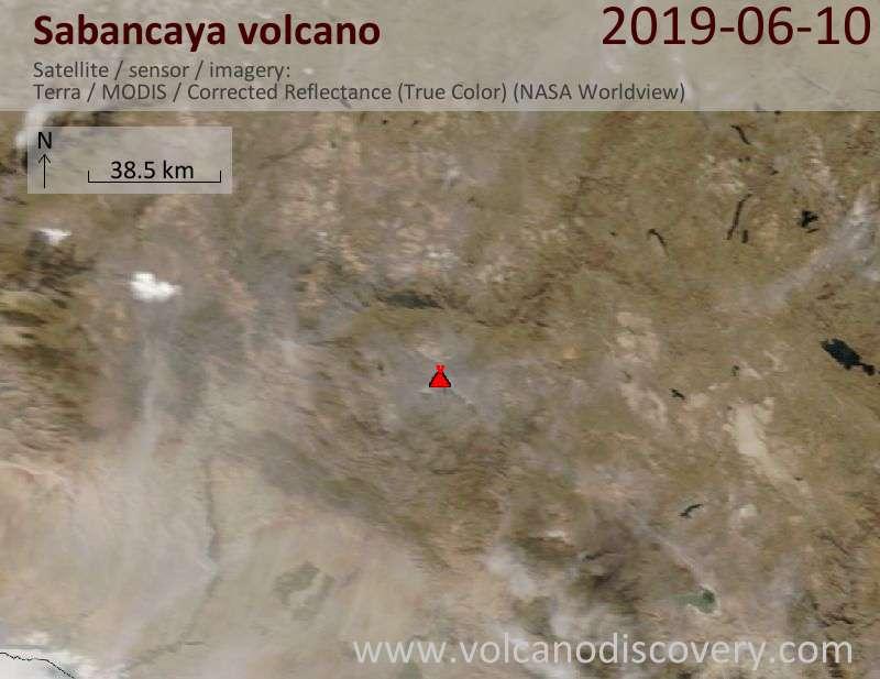 Satellite image of Sabancaya volcano on 10 Jun 2019