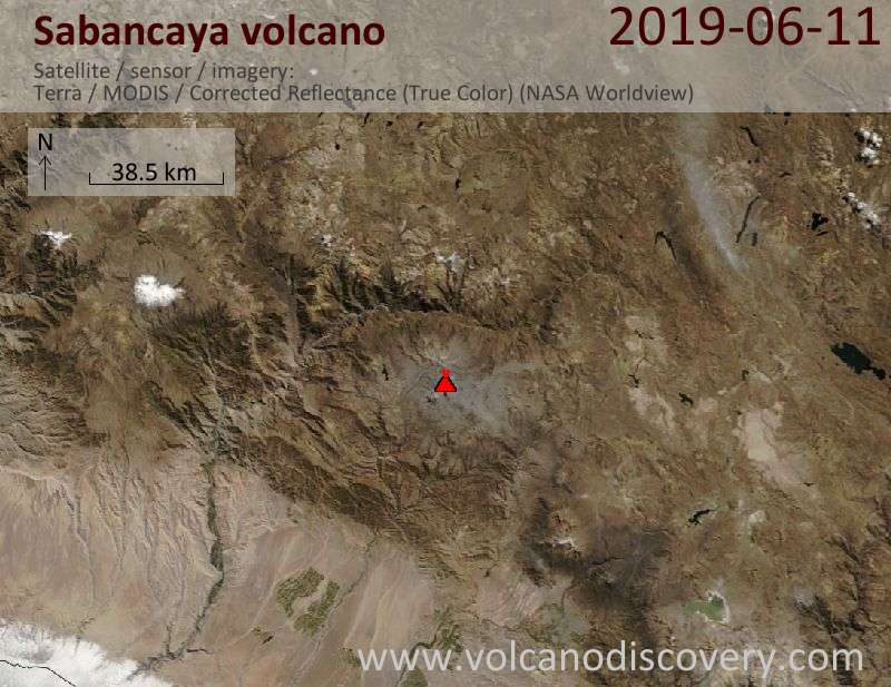 Satellite image of Sabancaya volcano on 11 Jun 2019