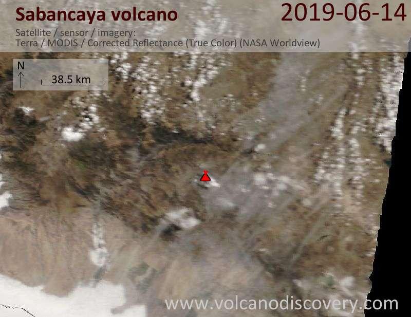 Satellite image of Sabancaya volcano on 14 Jun 2019