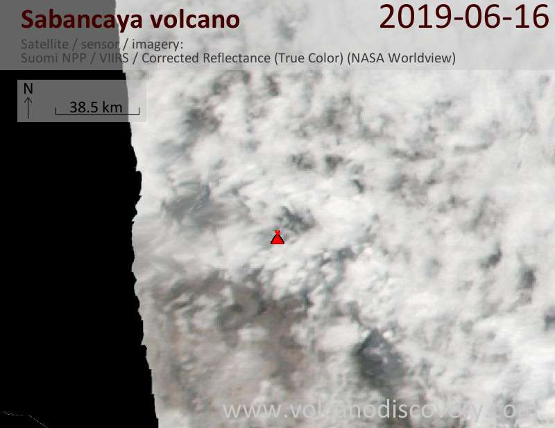 Satellitenbild des Sabancaya Vulkans am 17 Jun 2019