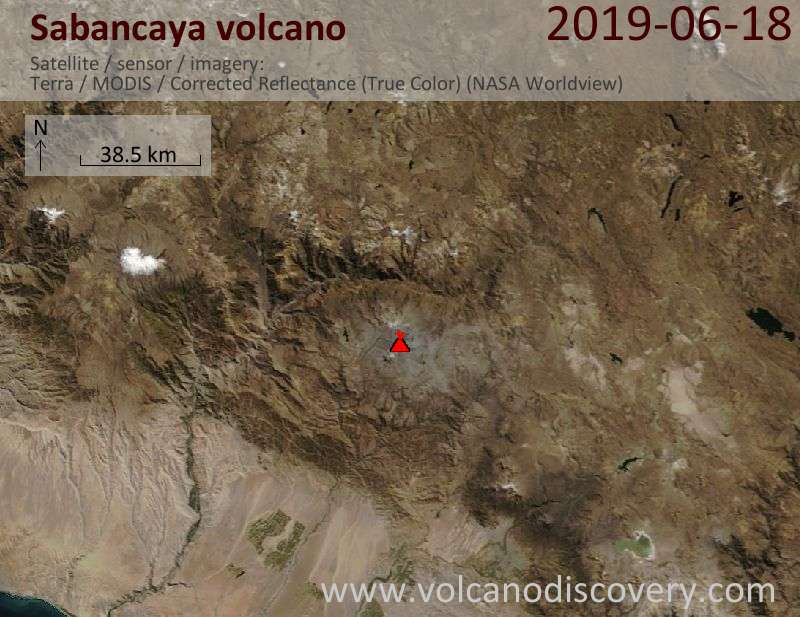 Satellitenbild des Sabancaya Vulkans am 18 Jun 2019