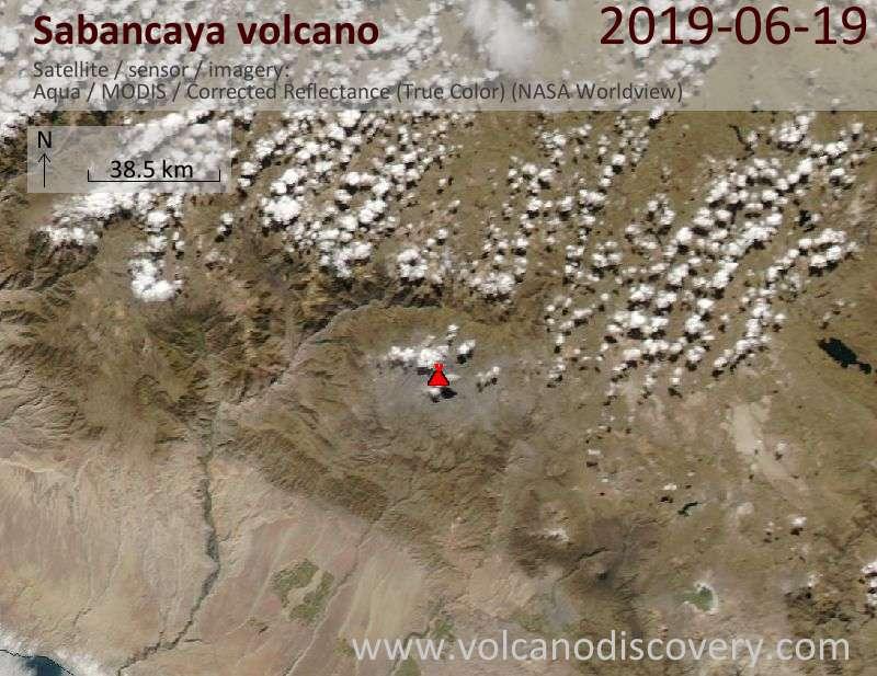 Satellitenbild des Sabancaya Vulkans am 19 Jun 2019