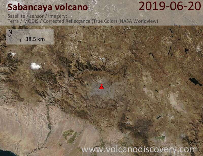 Satellite image of Sabancaya volcano on 20 Jun 2019