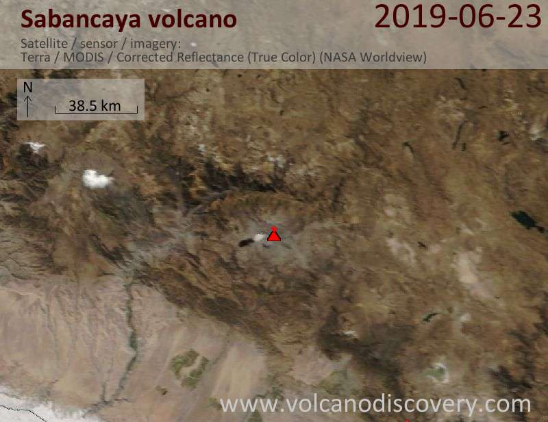 Satellite image of Sabancaya volcano on 23 Jun 2019