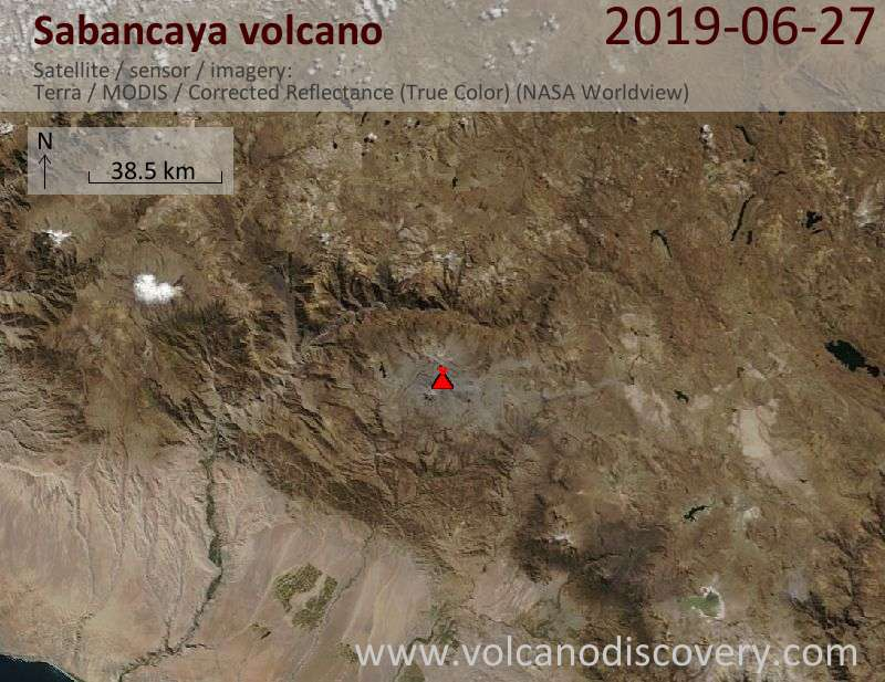 Satellitenbild des Sabancaya Vulkans am 27 Jun 2019