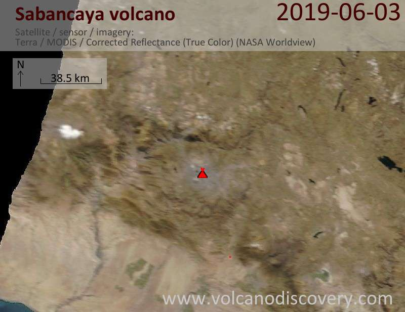 Satellite image of Sabancaya volcano on  3 Jun 2019
