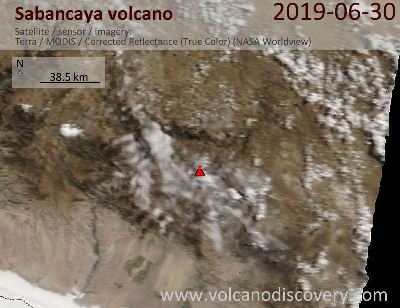 Satellite image of Sabancaya volcano on 30 Jun 2019