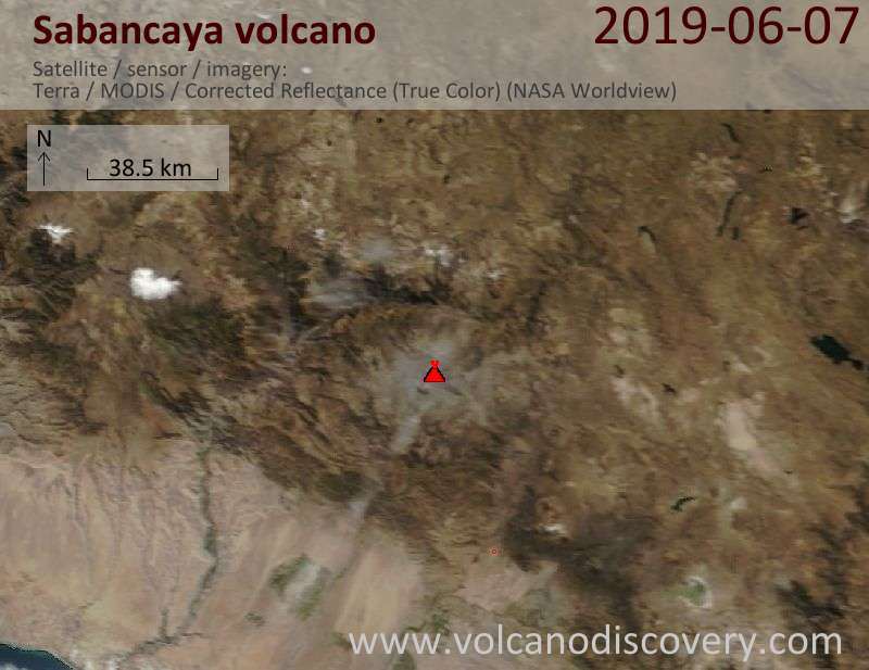Satellite image of Sabancaya volcano on  7 Jun 2019