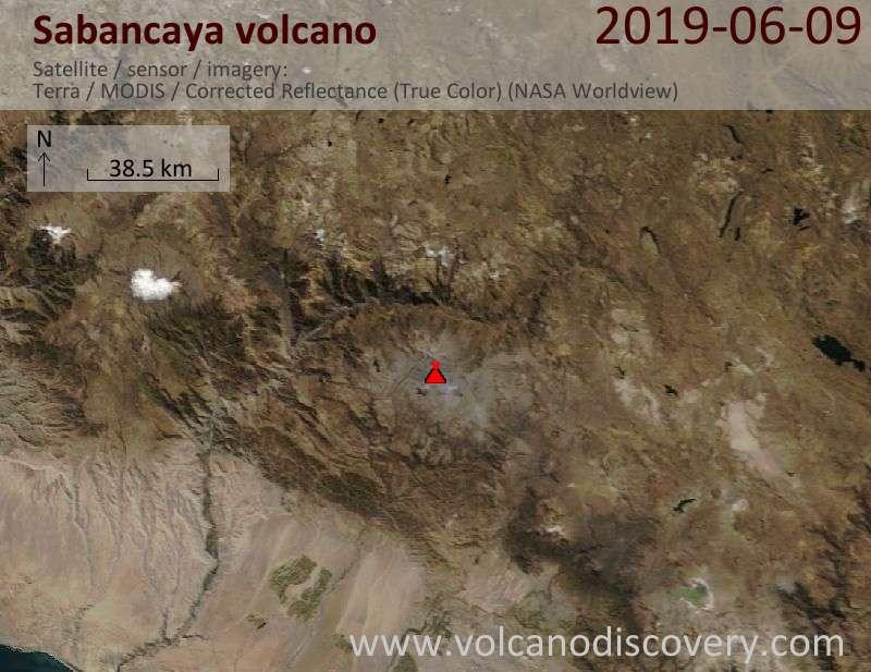Satellite image of Sabancaya volcano on  9 Jun 2019