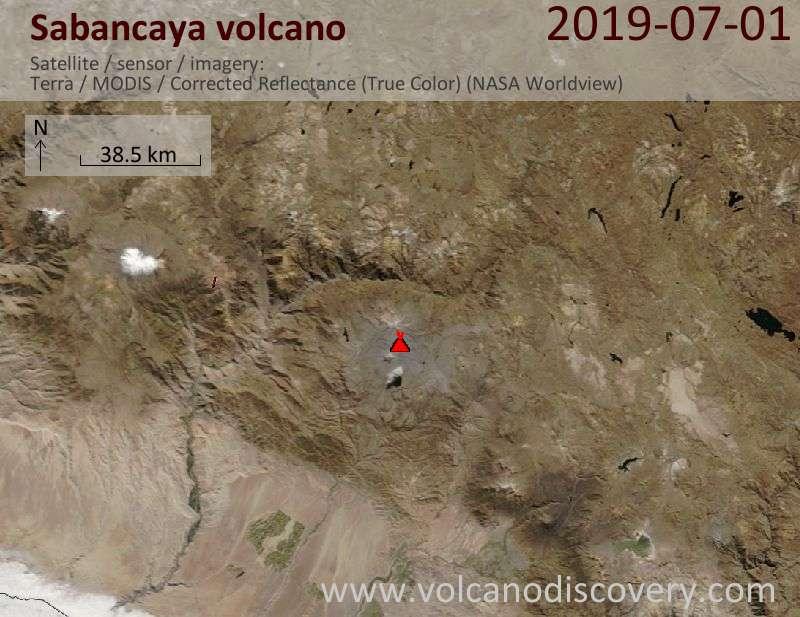 Satellite image of Sabancaya volcano on  1 Jul 2019