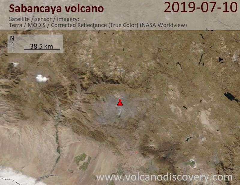 Satellite image of Sabancaya volcano on 11 Jul 2019