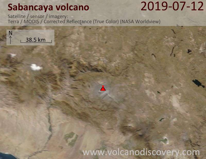 Satellite image of Sabancaya volcano on 12 Jul 2019