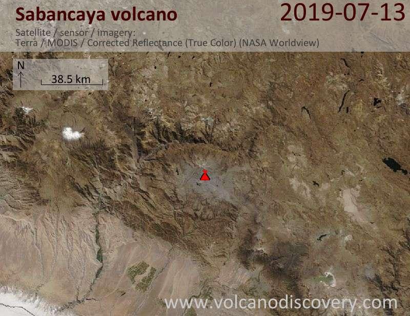 Satellite image of Sabancaya volcano on 13 Jul 2019
