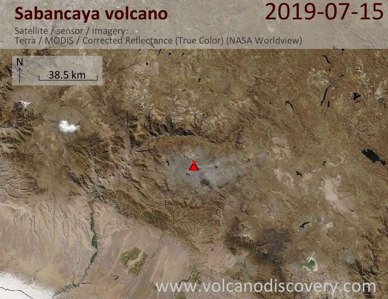 Satellite image of Sabancaya volcano on 15 Jul 2019