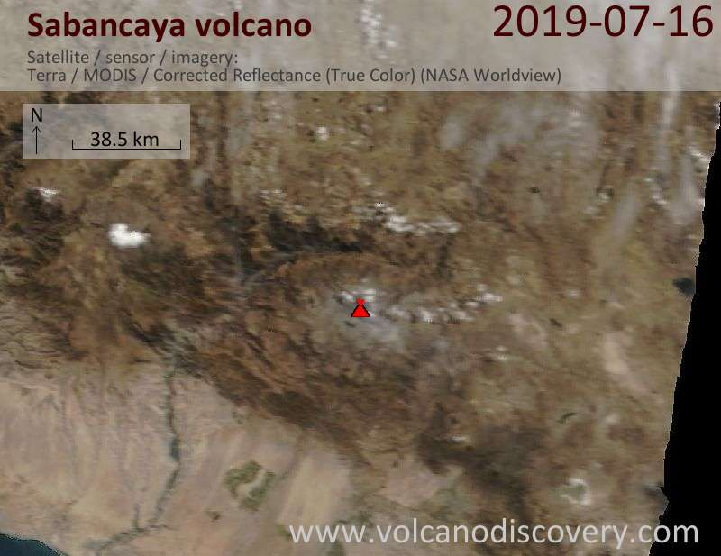 Satellitenbild des Sabancaya Vulkans am 16 Jul 2019