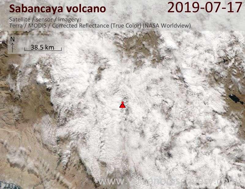 Satellite image of Sabancaya volcano on 17 Jul 2019