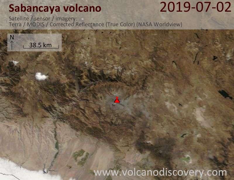 Satellite image of Sabancaya volcano on  2 Jul 2019