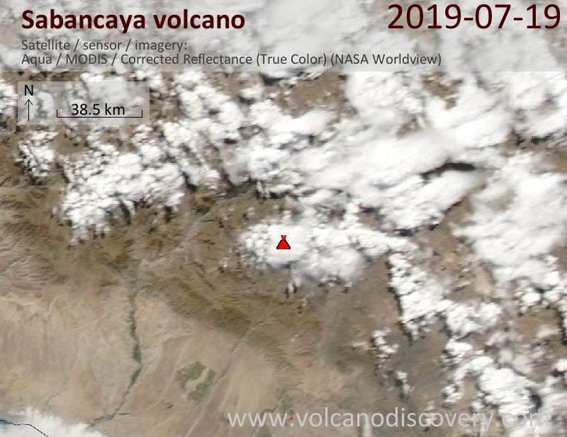 Satellite image of Sabancaya volcano on 20 Jul 2019